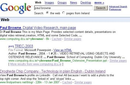 Paul Browne Search on Google